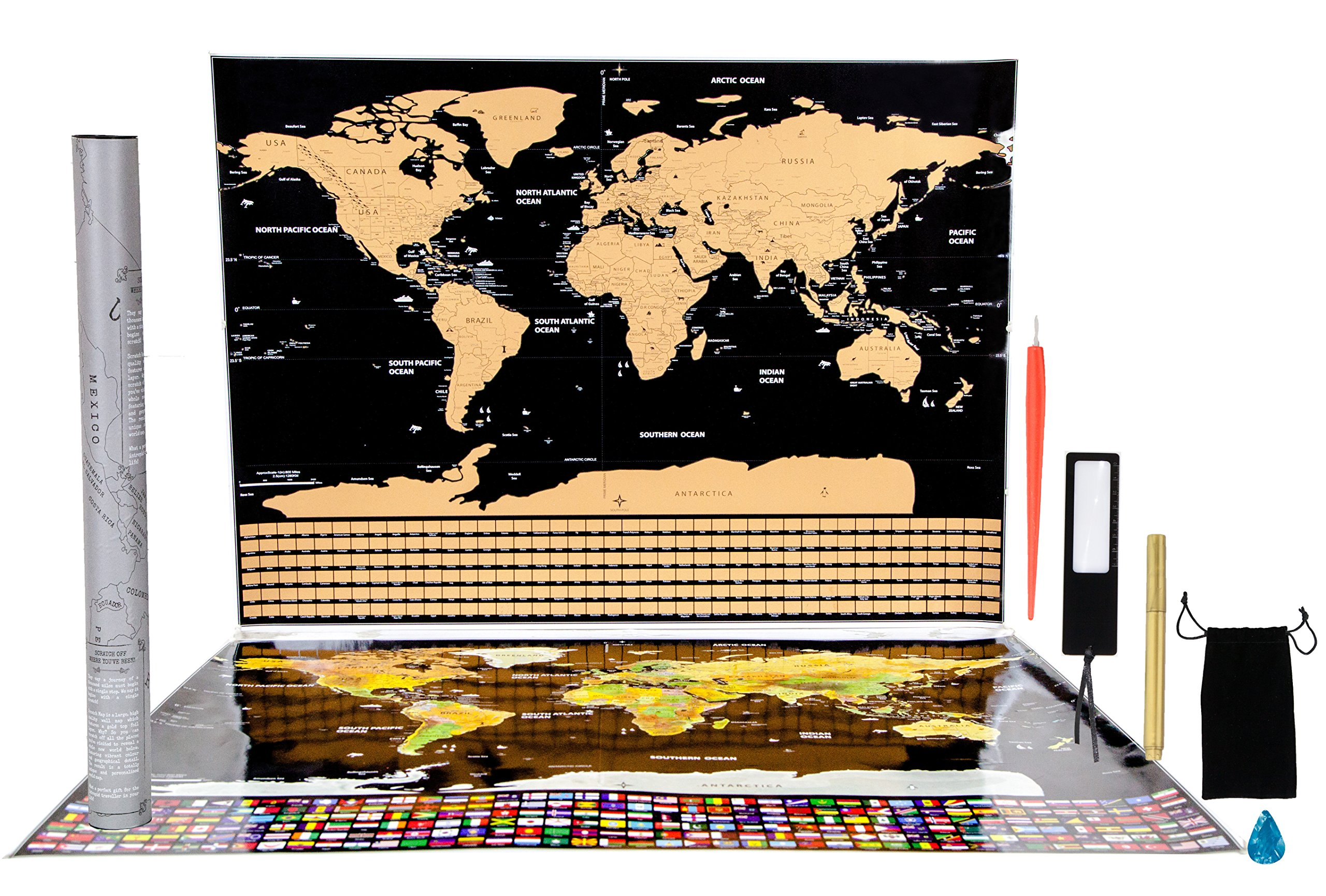 Scratch Off World Map Poster with US States, Thicker Paper, Large Size 32.5X23.5'', Country Flags, Includes Gift Box, Magnifier, 2 Scratch Tools, Dry Erase Pen, for Fun, Education, Great Gift Idea