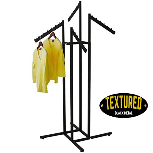 Only Garment Racks - Clothing Rack - Heavy Duty Textured Black Finish - 4 Way Clothes Rack, Adjustable Height Decorative Blade Waterfall Arms, Perfect for Retail Clothing Store Display