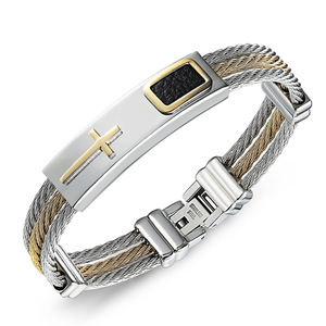 Made in china bracelet expandable wire bangle cross stainless steel bracelet