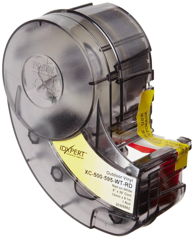 "Brady XC-500-595-WT-RD IDXPERT(TM) & LABXPERT(TM) Labels B- 595 Indoor/Outdoor Vinyl Film Red on White, Printable Area: 19.000"" W x 0.500"" H 1 roll (30ft.)/Cartridge"