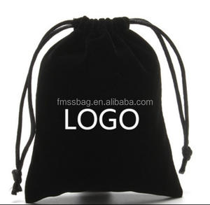 Black Mini drawstring faux suede jewelry pouch with custom logo velvet drawstring bag