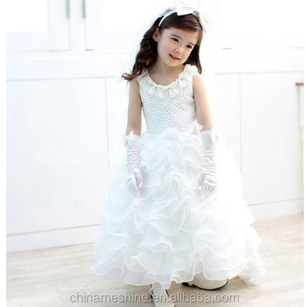 MS68014C long maxi puffy design girls kids gowns and dresses