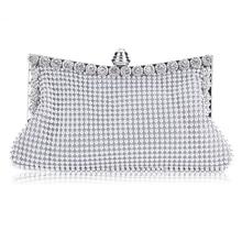 2016 Fashion New Women Clutch Bags Evening Party Purses Rhinestones Crystal Bag Handbag 3 Color Wholesale