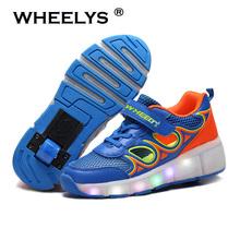 Brand Boys Girls LED Heelys Children Wheelys Child Roller Shoes Outdoor Sport Sneakers with Wheel Heelys