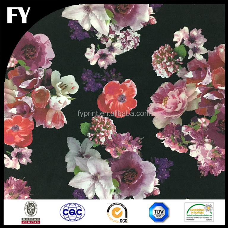 Factory direct custom design high quality digital printed floral on silk