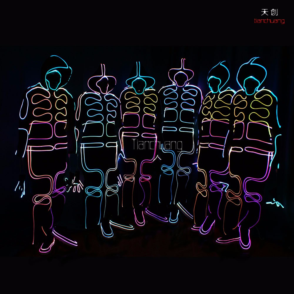 Full body suit costume.fiber optic led robot costume,customize led light leotard