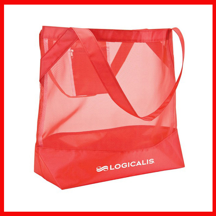 factory supply personalize storage bright color mesh promotional beach tote bag