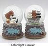 12*8CM Snowflake Color Lamp Naked Bear Crystal Ball Music Box Music Box Creative Girl Birthday Gift Resin Crafts