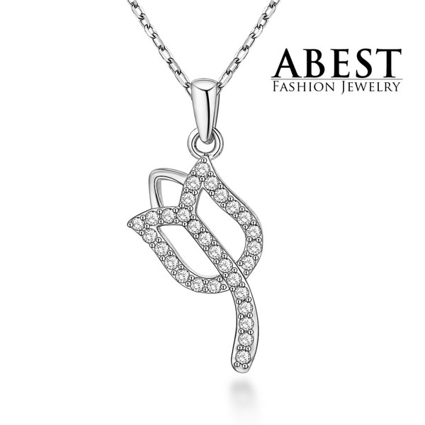 Hot Sale Tulip Flower Pendant Sterling 925 Silver Plating 18K White Gold Elegant Pendant Necklace Jewelry