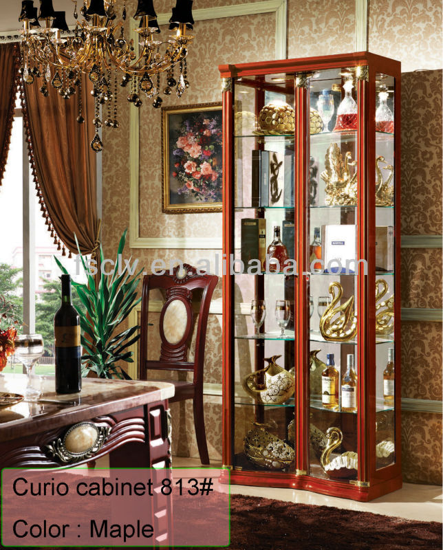 Alibaba Furniture Antique Rosewood frame European Style Furniture glass cabinet