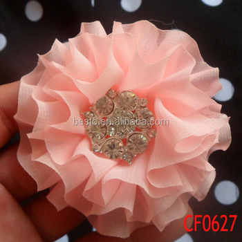 Cf 0627 Valentines Trendy Ruffled Chiffon Fabric Flowers For Wedding Dresses