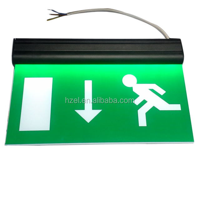 Double- side transparent LED edge-lit Fire Exit Indicator Light