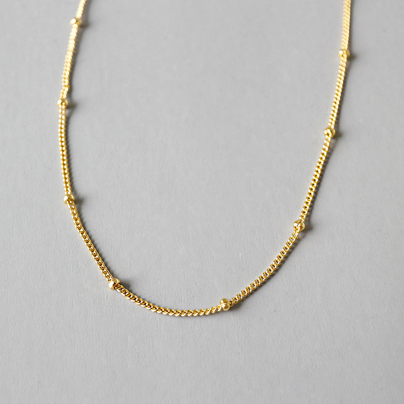 Gold Plated Sterling Silver Clavicle สร้อยคอสร้อยคอสร้อยคอ