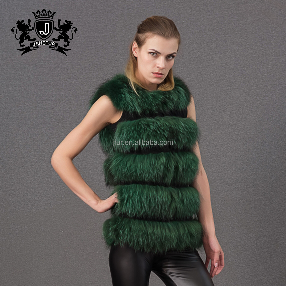 Ladies vintage classic green shaggy raccoon real fur womens gilet