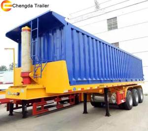 Tri Axle 50T 60T Container Flatbed Tipper Tipping Semi Trailer Dumper Truck Trailer Chassis