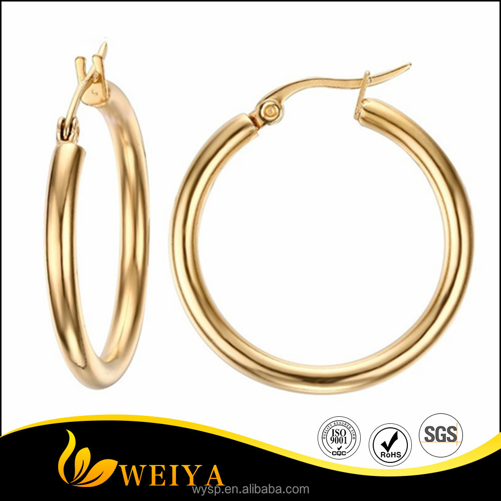 Trendy 18K Gold Plated Fashion Jewelry Wholesale Round Big Hoop Earrings Women