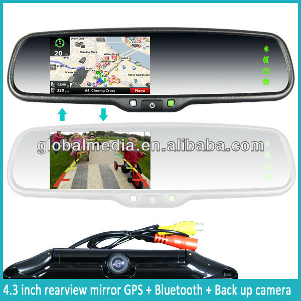 4.3 inch gps navigation mirror with bluetooth+auto-dimming+FM+free map