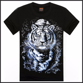 Cool Men O-neck Short Sleeve Cotton T-shirt Screen Printing 3d ...