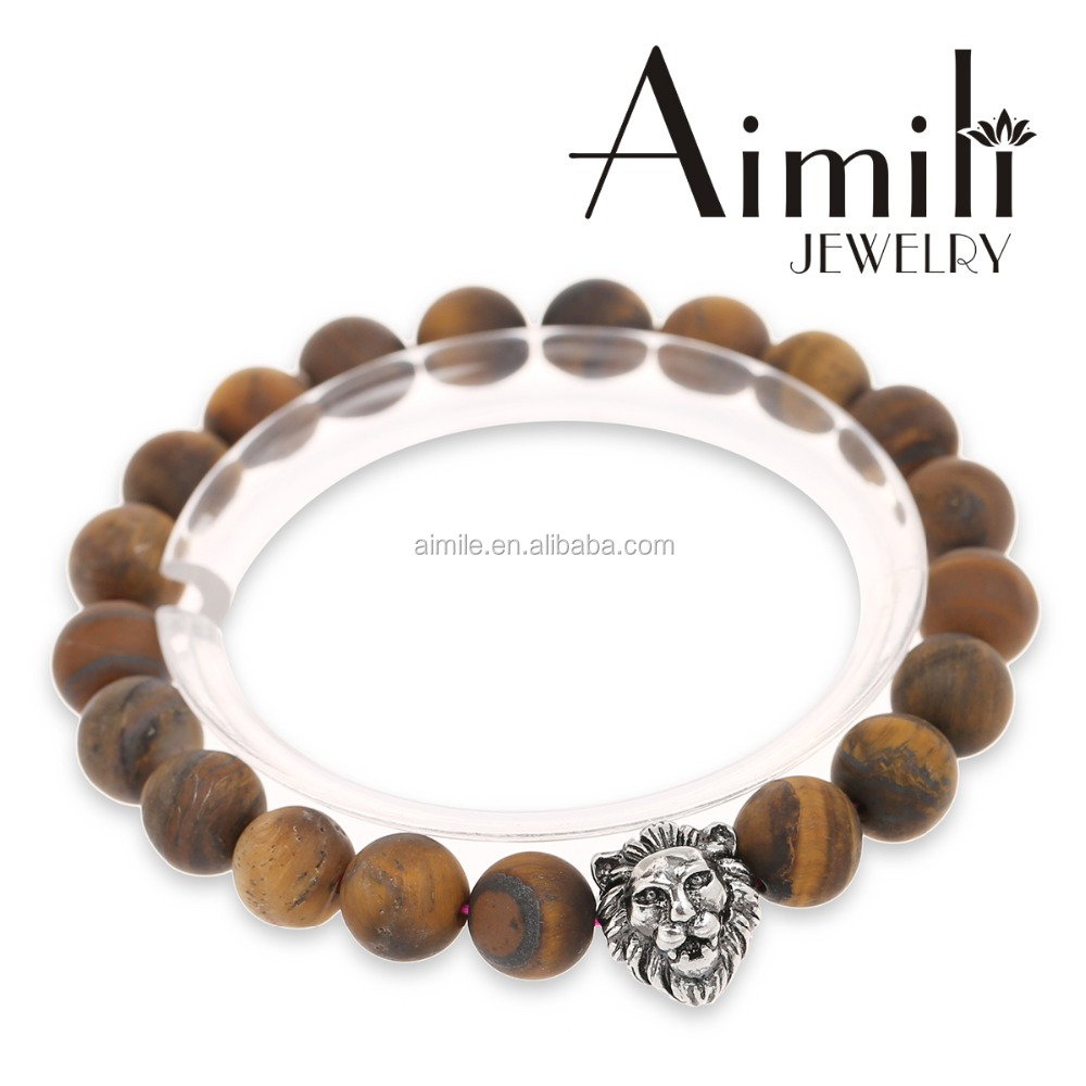 L10 Lion Head Bracelets #Lion Bracelet Wholesale #8mm MATTE Brown Tiger Eye Beads