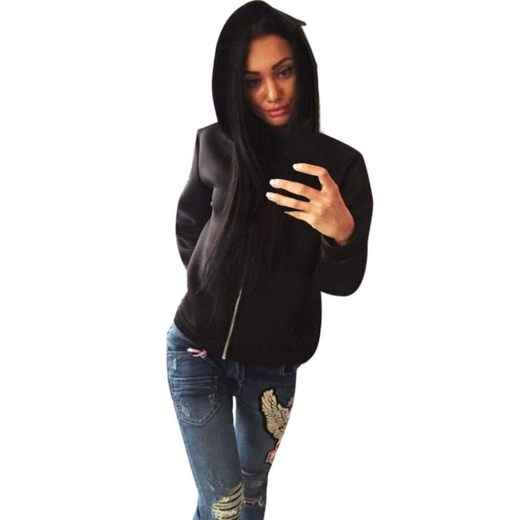 Coohole Women's Long Sleeve Casual Tops Zip Hoodie Ladies Cardigan Outwear Coat Hoodie Pullover Jacket (M, Black)