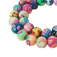 Lampwork Scented Ceramic Beads Assorted Handmade Colorful Pattern Beads Fimo Polymer Clay Round Spacer Bulk Beads