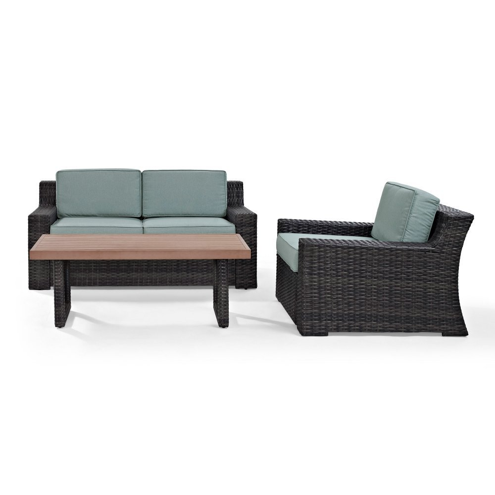 Crosley Furniture KO70101BR Beaufort 3-Piece Outdoor Wicker Seating Set with Mist Cushions-Brown