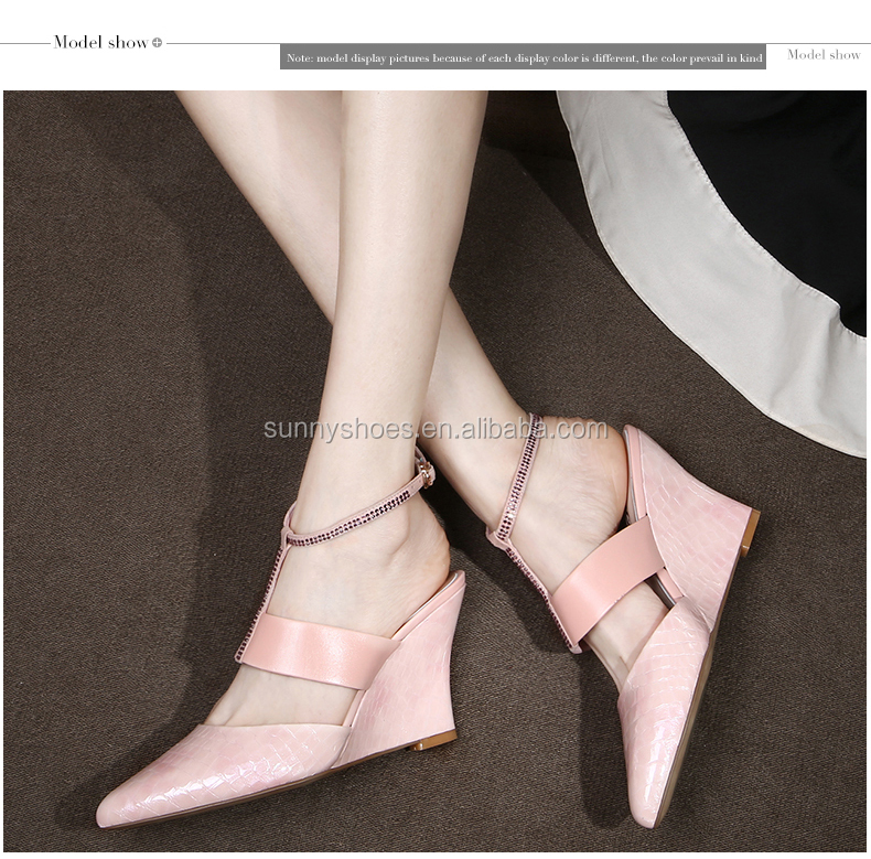 2017 new design latest ankle strap pointy toe women footwear kid leather wedge heel shoes for sale