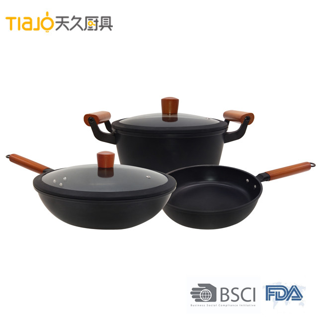 Hot sales iron wok cooking set 5pcs cookware for chef with good quality