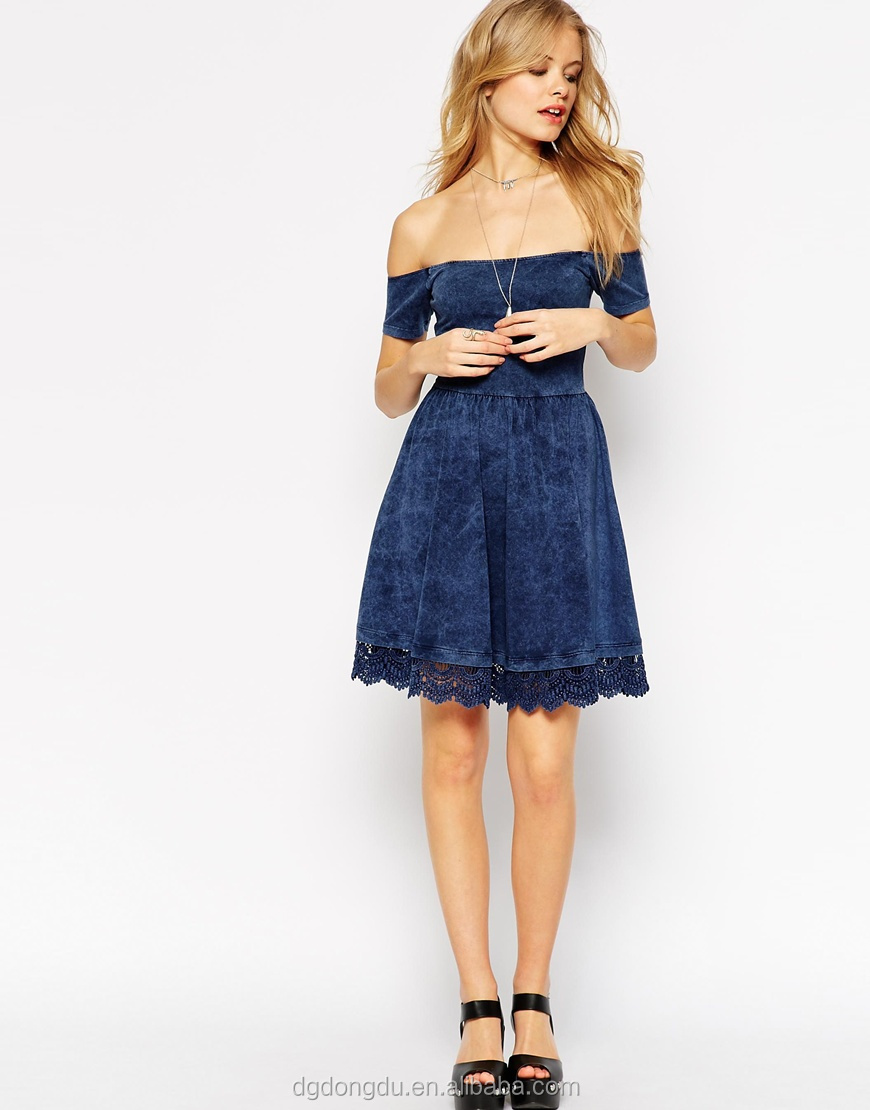 a5ca7797a105 Fashion Off Shoulder Design Crochet Hem Skater Dress denim Dress ...