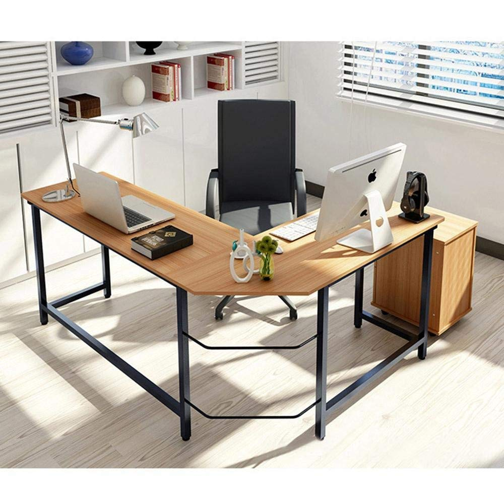 L Shaped Writing Table/Modern Conner Computer Desk W/Free Flexible CPU Stand, Wood Color Top +Steel Frame,for Studio, Home Office Workstation,L Shape Corner Table