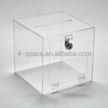 30x30x30 Dimension Clear Acrylic Lucky Draw Box With Key