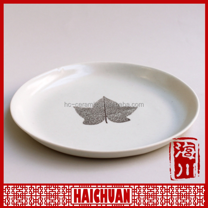 14 inch hotel and restaurant ceramic pizza plate with logo decal printable new mould customized