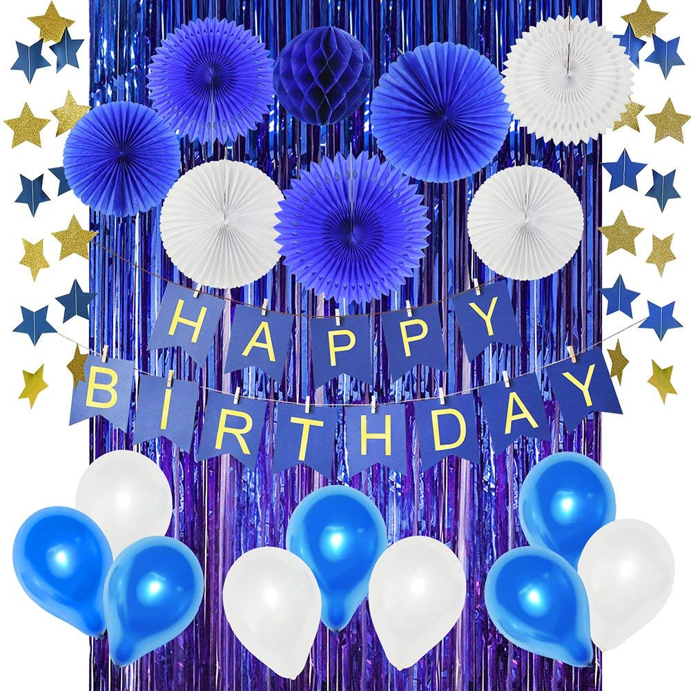 Get Quotations Navy Birthday Party Decorations For Boys Baby Boy 1st HAPPY BIRTHDAY Banner Blue
