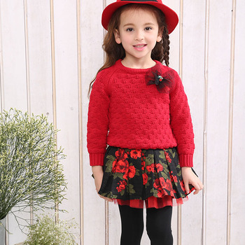 Christmas Outfits.Boutique Girls Christmas Outfits With Printed Wholesale Kids Red Sweater Pantskirt Set For Fall Buy Girls Christmas Clothing Girls Christmas Outfits