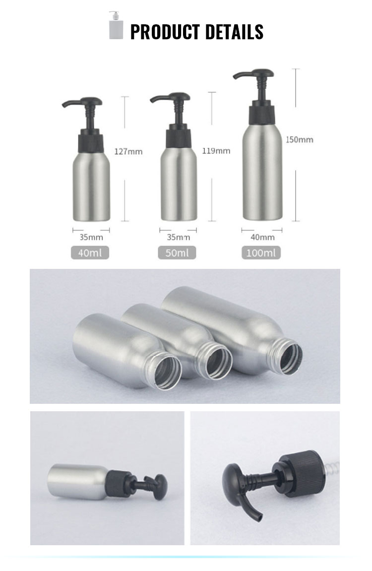 Empty refillable 40ml 100ml 250ml aluminum shampoo bottle