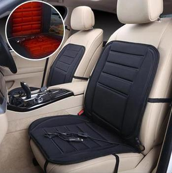 12V Car Seat Heated Cushion Hot Cover Plush Heater Winter Warmer Black