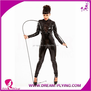 0d9ea1e08a513 Pvc Catsuit Wetlook Women Black Fetish Gothic Thong Catsuit XXL Long Sleeve  One piece Bodysuit Cosplay Costume Jumpsuit
