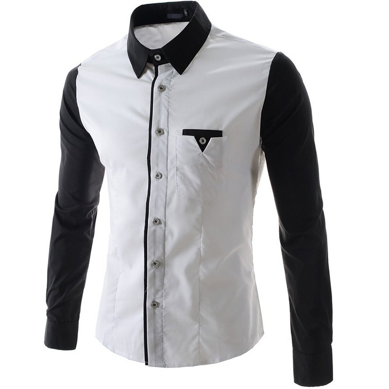 Extrêmement Buy New Chemise Homme Men Shirt 2015 Fashion Design Black Long  GJ95