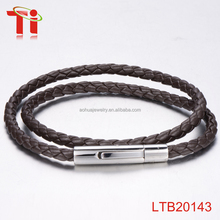 best selling products silver SS bio magnetic bracelet 2 cords braid genuine cow leather bracelet accessories bangle men jewelry