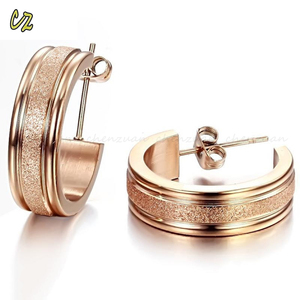 Latest new fashion dull polish surgical steel hinged hoop earrings
