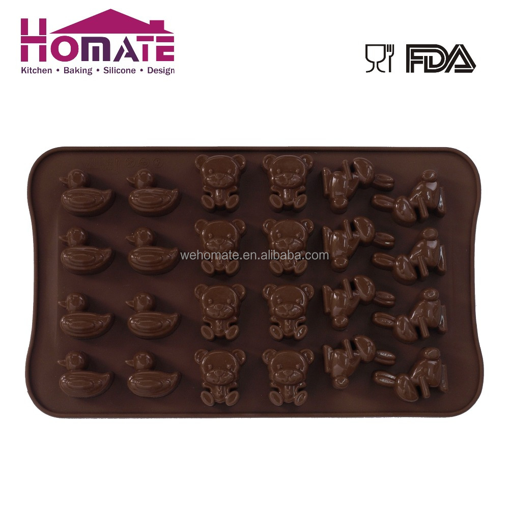 Silicone rabbit/ bear/duck shape chocolate mould for cake decoration