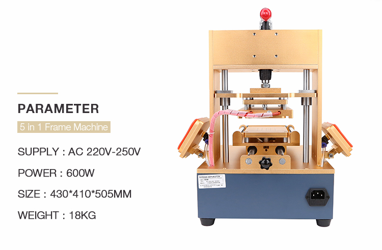 BAKU 5 in 1 Bezel Middle Frame Separator Machine + Vacuum LCD Screen Separator +LCD Glue Remover + Frame Laminator + Preheater