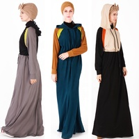 New design Islamic clothing adjustable drawstring belt and loose sleeves color matching cotton sports leisure abaya