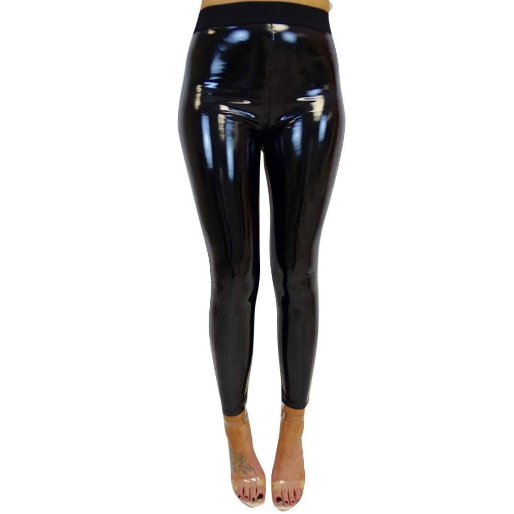 e187a4252f4fa Get Quotations · Stretchy Shiny Leather Leggings, Women's High Elastic  Waist Sport Fitness Leggings Trouser Yoga Pants by