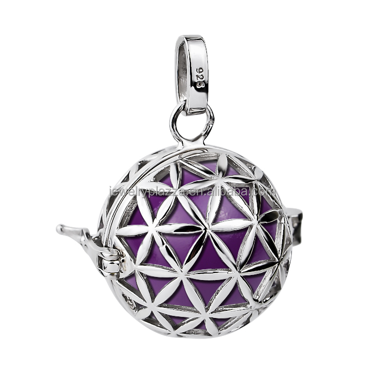 925 sterling silver flower of life small harmony ball cage pendant 925 sterling silver flower of life small harmony ball cage pendant necklace 16mm aloadofball Gallery