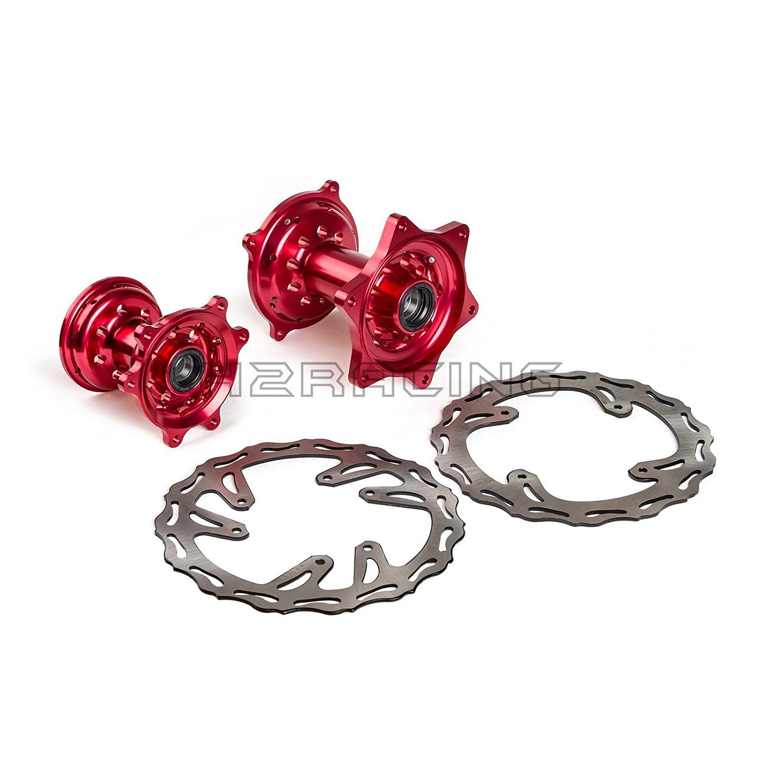 H2RACING Front & Rear Wheel Hubs with Brake Disc Rotors for Honda CR125R/250R 2002-2007 CRF250R 2004-2013 CRF450R 2002-2012 CRF250X 2004-2015 CRF450X 2005-2015