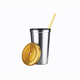 Double wall straw sublimation blanks stainless steel travel mug with lid