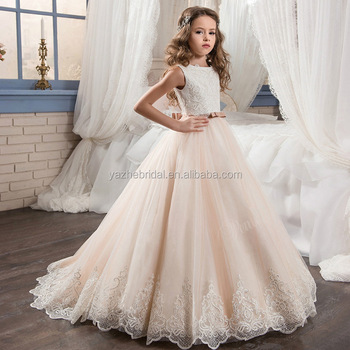 8d0ab9bd5c0 2018 new style children Wedding girl lace hot fix rhinestone flower  children dress princess flower girl
