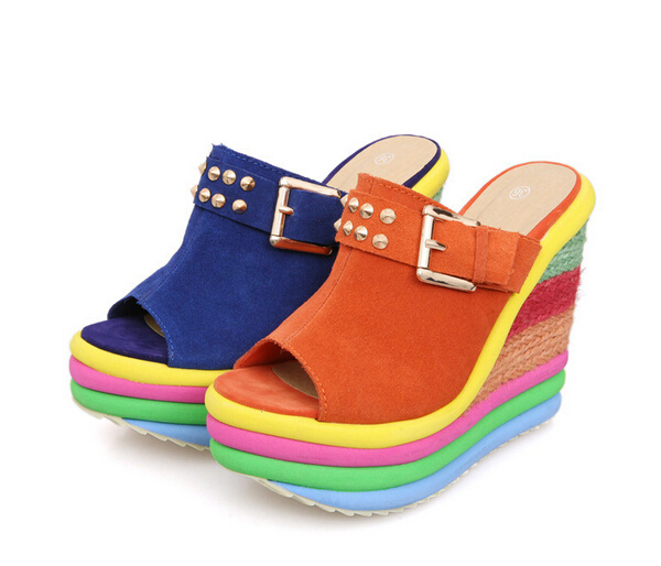 e37c61b77dd Get Quotations · 2015 new leather slippers for women wedge sandals sponge  rainbow fish mouth thick soles slippers female