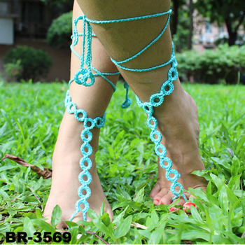 Fashion Barfuß Sandalen Häkeln Fuß Knöchel Armband Kette Weiß